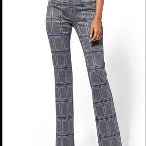 NWT Women's NY&Co XL grey plaid Ponte dress pant